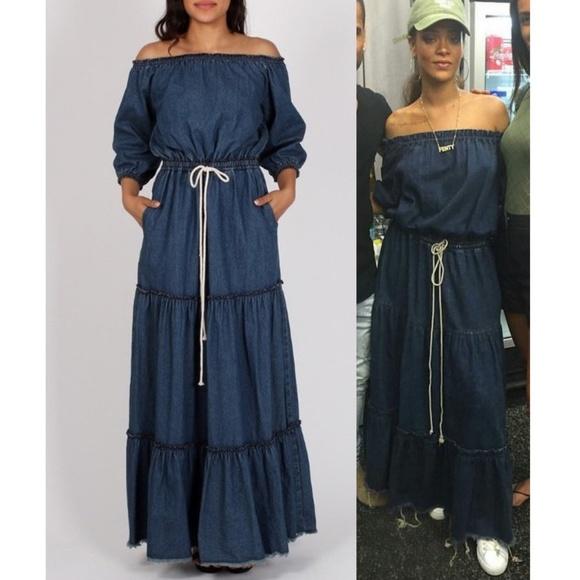 710ceebdf45d Denim Off Shoulder Tiered Ruffle Jean Maxi Dress